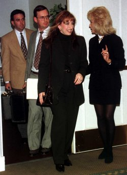 Paula Jones, center, who is suing President Clinton for sexual harassment