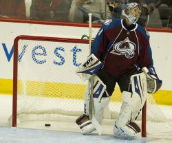Avalanche Goalie Turns Away from Net after Giving up Goal Against Sharks Pavelski in Game Six in Denver