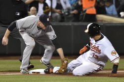 Orioles' Manny Machado is tagged out by Yankees' third baseman Chase Headley