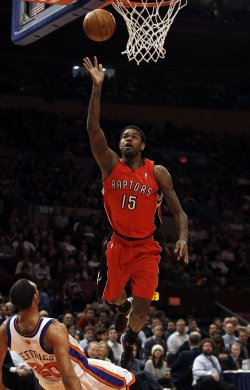 Toronto Raptors Amir Johnson is called for an offensive foul on New York Knicks Jared Jeffries at Madison Square Garden