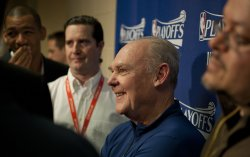 Nuggets Head Coach Karl Smiles During Pre-Game Press Conference at the NBA Western Conference Playoffs First Round Game Four in Denver
