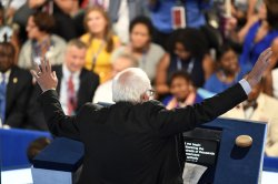 Bernie Sanders attends the DNC convention in Philadelphia