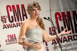 Taylor Swift, winner of the Entertainer of the Year, at the 2011 CMA Awards in Nashville