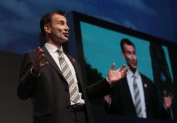 Shadow culture spokesman Jeremy Hunt delivers his keynote speech at the Conservative Party Conference 2009.