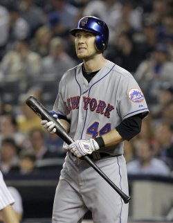 New York Mets Jason Bay at Yankee Stadium in New York