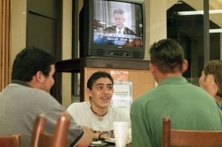 People watch President Clinton's deposition in El Pass, Texas