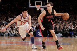New York Knicks Jeremy Lin defends Toronto Raptors Jose Calderon at Madison Square Garden in New York
