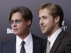 Brad Pitt and Ryan Gosling arrive at the Premiere of The Big Short