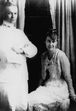 Then-Lieutenant Dwight Eisenhower wife his new bride, the former Mamie Geneva Doud, are seen in here in their wedding photo July 1916.