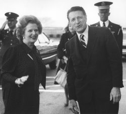 Margaret Thatcher tours the Pentagon and meets with Caspar Weinberger