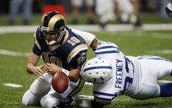 St. Louis Rams quarterback sacked