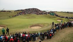 Anders Hansen tees off on the 6th green during the Open Championship in England.