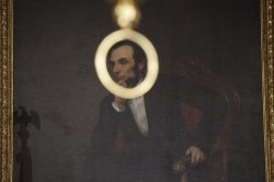 A Paiting of President Abraham Lincoln is seen at The White House