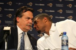 First openly gay football player is introduced by St. Louis Rams
