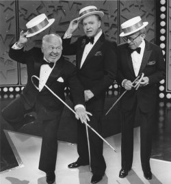 Mike Rooney, Bob Hope and George Burns perform together