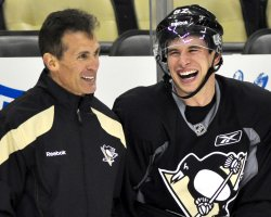 Pens assistant coach Tony Granato and Crosby in Pittsburgh