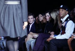 Penn Bagley, Rosario Dawson, Ashley Olsen, Ed Westwick and Russell Simmons at Mercedes-Benz Fashion Week at Bryant Park in New York