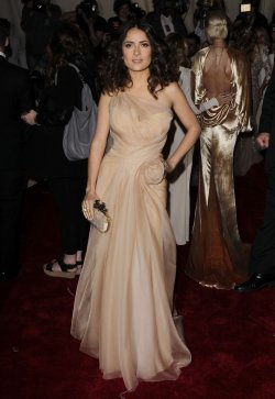 Salma Hayek arrives at the Costume Institute Gala Benefit in New York