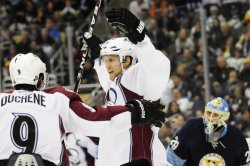 Avalanche Paul Stastny celebrates his goal in Pittsburgh