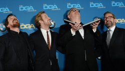 Christian Bale, Ryan Gosling, Steve Carrell and Adam McKay appear backstage at the 68th annual Directors Guild of America Awards