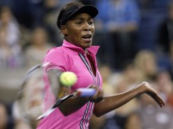 Vera Dushevina plays Venus Williams in the first round at the US Open Tennis Championships in New York