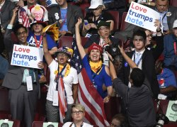 Wisconsin delegates cheer sign at the 2016 DNC Convention in Philadelphia
