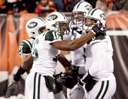 Jets Sanchez Celebrates Touchdown Pass Against Bengals