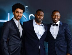 "Shawn Carter Peterson, Mustafa Harris, and Stephen Rider attend ""The Host"" premiere in Los Angeles"