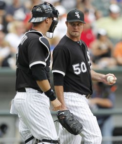 White Sox Pierzynski and Danks talk against Cubs in Chicago