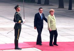 Germany's Merkel attends welcoming ceremony in Beijing