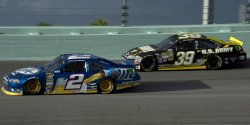 The Homestead-Miami Speedway hosts the NASCAR Ford EcoBoost Championship Series in Homestead, Florida