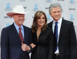 "Patrick Duffy, Linda Gray, and Larry Hagman attend the 40th anniversary restoration premiere of ""Cabaret"" in Los Angeles"