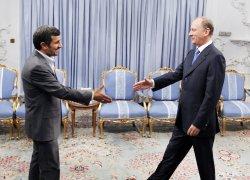 Iran's President Mahmoud Ahmadinejad meets with Russia's Security Council Secretary Nikolai Patrushev in Tehran, Iran