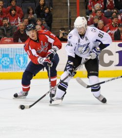 Capitals Semin defends against Lightning Stamkos in Washington
