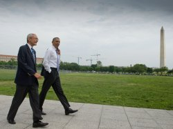 Obama Walks From White House to the Department of Interior