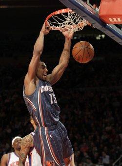 Charlotte Bobcats Gerald Henderson dunks at Madison Square Garden in New York