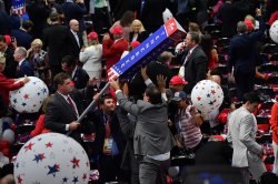 Delegates hunt for souvenirs at the conclusion of the RNC in Cleveland