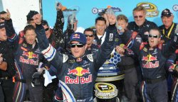 Kahne starts to celebrate after winning the Kobalt Tools 500 in Arizona.