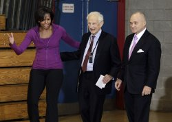 First Lady Michelle Obama, Former New York District Attorney Robert Morgenthau and New York City Police Commissioner Ray Kelly speak to Harlem children in New York