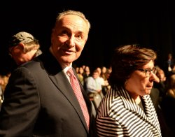 Sen. Chuck Schumer arrives for first presidential debate at Hofstra University