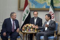 Iraqi president Jalal Talabani meets with Iranian President Mahmoud Ahmadinejad