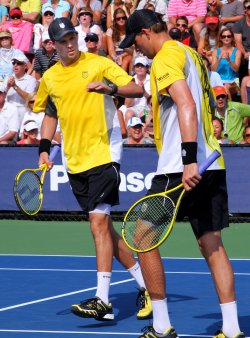 Bryan brother play doubles match at the U.S. Open in New York