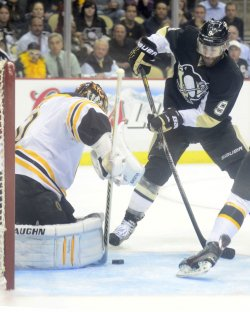 Boston's Goalie Rask Blocks Pens Dupuis in Pittsburgh
