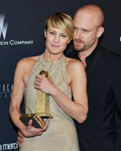 Robin Wright and Ben Foster attend the Weinstein Company and Netflix 2014 Golden Globes After Party