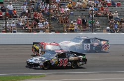 Drivers avoid crashes in Brickyard 400 in Indianapolis, Indiana.