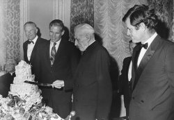 Sen. Ted Kennedy attends birthday party for Cardinal Richard Cushing