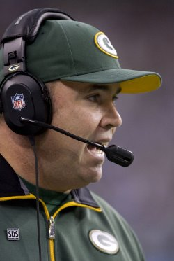 Green Bay Packers head coach Mike McCarthy calls plays against the Seattle Seahawks at CenturyLink Field in Seattle.