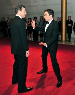 Seth Meyers and Jon Hamm arrive for the 2010 Mark Twain Prize in Washington