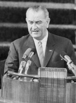 President Lyndon Baines Johnson delivers his Inaugural Address