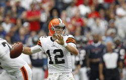 Cleveland Browns Quarterback Colt McCoy Llooks to Throw the Ball Downfield at Reliant Stadium in Houston